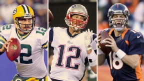 Aaron Rodgers, Tom Brady, and Peyton Manning