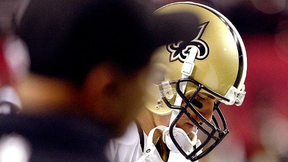 Drew Brees with the New Orleans Saints against the Atlanta Falcons