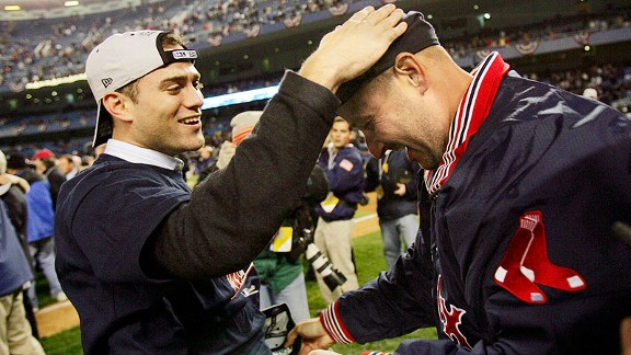 Terry Francona, Theo Epstein and the Boston Red Sox after being the New York Yankees in the 2004 ALCS