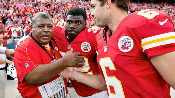 Romeo Crennel, Cyrus Gray and Ryan Succop of the Kansas City Chiefs after hteir win in the wake of the Jovan Belcher tragedy
