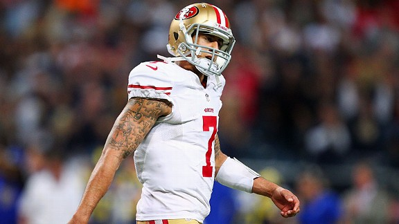 Colin Kaepernick with the San Francisco 49ers against the St. Louis Rams