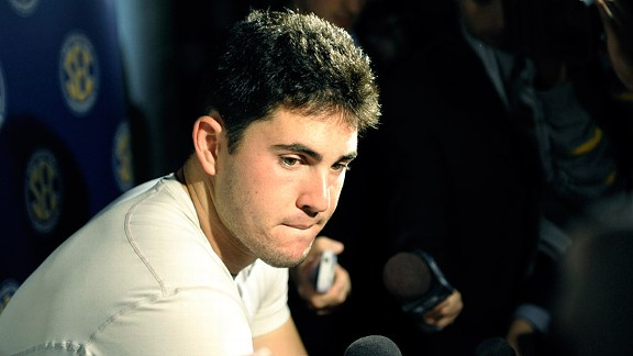 Aaron Murray after the Georgia Bulldogs loss in the SEC Championship Game to the Alabama Crimson Tide