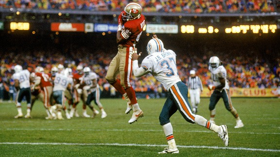 Jerry Rice catching his record-breaking 101st touchdown with the San Francisco 49ers