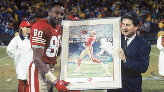 Jerry Rice celebrating his record-breaking 101st touchdown with the San Francisco 49ers