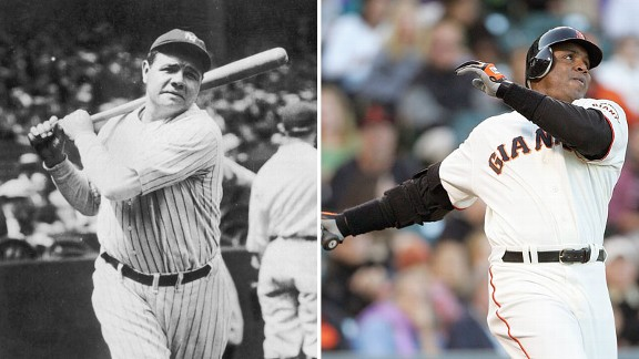 Babe Ruth and Barry Bonds
