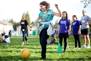 During a game of kickball at a recent BAWSI session.