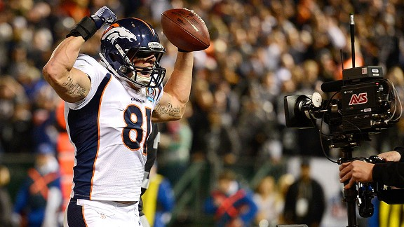 Joel Dreessen of the Denver Broncos against the Oakland Raiders