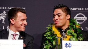 Johnny Manziel of the Texas A&M Aggies and Manti Te'o of the Notre Dame Fighting Irish
