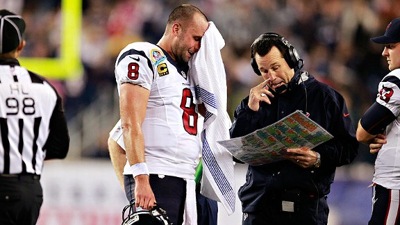Matt Schaub, Gary Kubiak and the Houston Texans against the New England Patriots on Monday Night Football