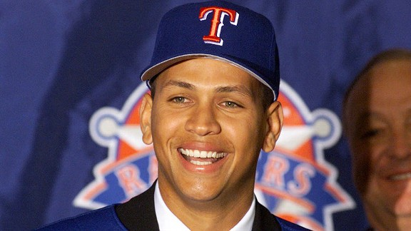 Alex Rodriguez after signing with the Texas Rangers
