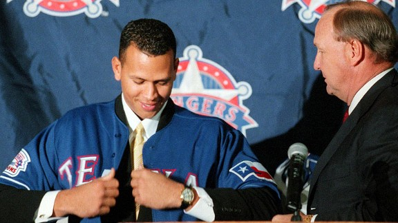 Alex Rodriguez and Tom Hicks with the Texas Rangers