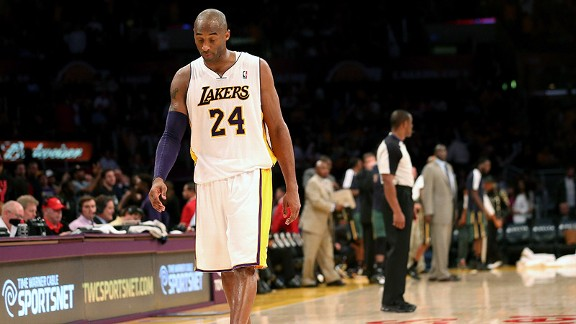 Kobe Bryant of the Los Angeles Lakers during a loss to the Utah Jazz