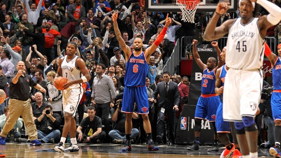 Tyson Chandler of the New York Knicks against the Brooklyn Nets