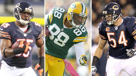 Lance Briggs, Jermichael Finley, Brian Urlacher