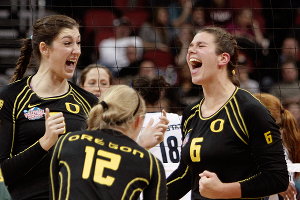 Oregon's Canace Finley, Katherine Fischer and Liz Brenner have something to shout about after defeating Penn State.