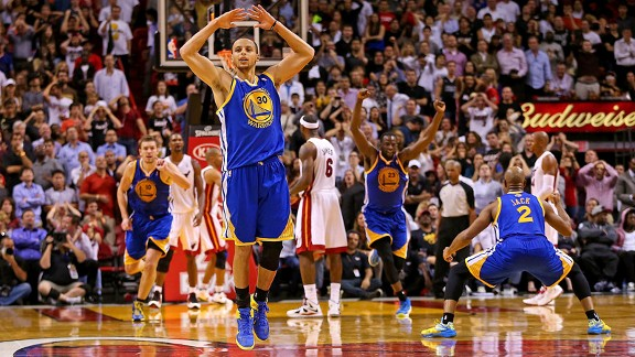 Stephen Curry with the golden State Warriors against the Miami Heat
