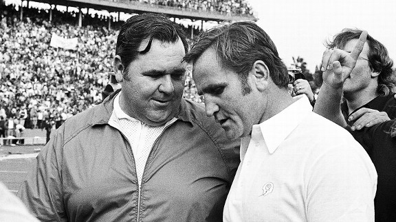 Miami Dolphins coach Don Shula with Baltimore Colts coach John Sandusky