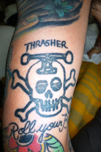 100 points for this King of the Road Thrasher tattoo.