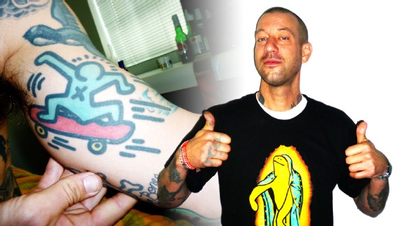 Girl pro Brian Anderson and his Keith Haring tattoo.