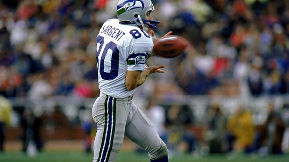 Steve Largent with the Seattle Seahawks against the Los Angeles Raiders
