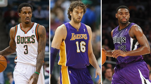 Brandon Jennings, Pau Gasol and Tyreke Evan