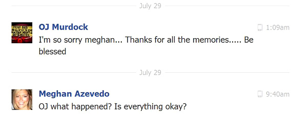 Facebook exchange between OJ Murdock and Meghan Azevedo 