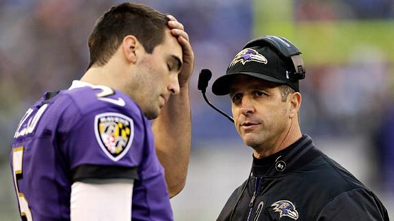 Joe Flacco and John Harbaugh of the Baltimore Ravens against the Denver Broncos