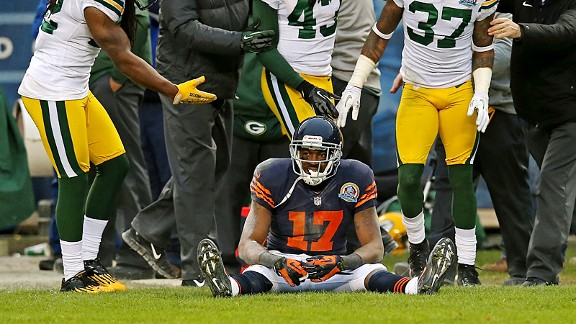 Alshon Jeffery of the Chicago Bears against the Green Bay Packers