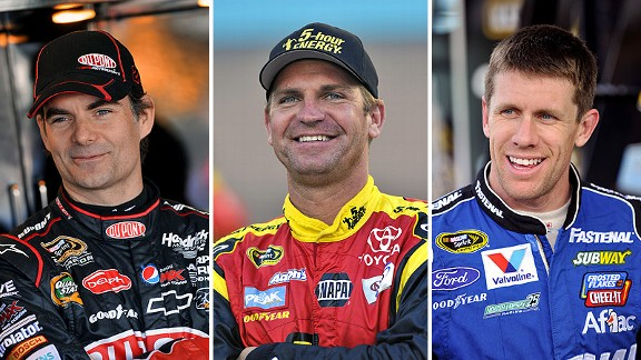 Jeff Gordon, Clint Bowyer and Carl Edwards