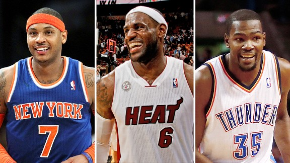 Carmelo Anthony, LeBron James and Kevin Durant