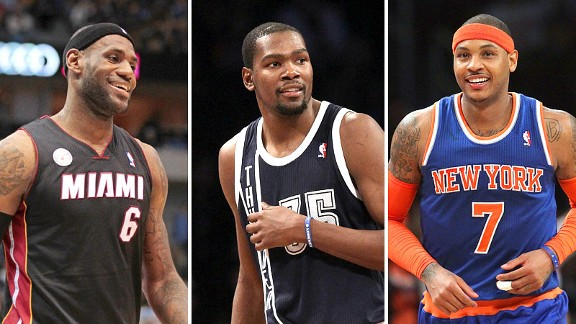 LeBron James, Kevin Durant and Carmelo Anthony