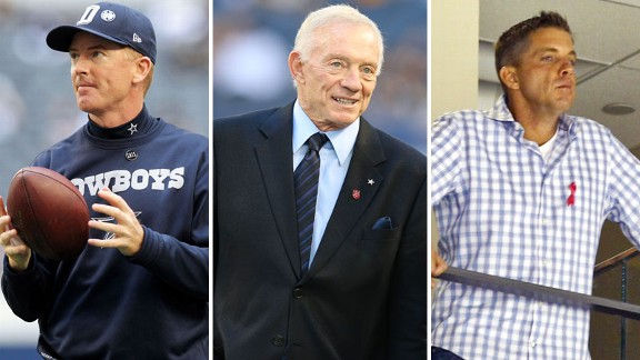 Jason Garrett, Jerry Jones, Sean Payton