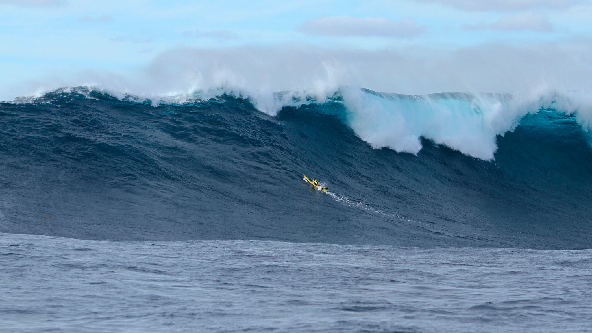 Mark Healey dodges one of the bigger set waves of the day out at Cortes Bank.