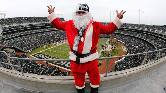 Santa Claus at an Oakland Raiders game