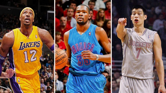 Dwight Howard, Kevin Durant, and Jeremy Lin