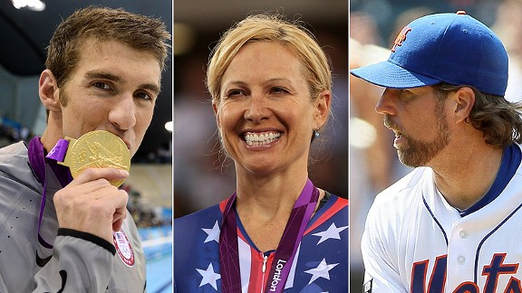 Michael Phelps/Dotsie Bausch/R.A. Dickey and Jim Caple