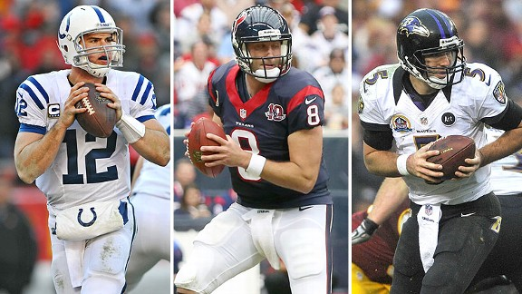 Andrew Luck, Matt Schaub, Joe Flacco