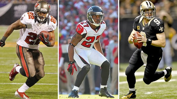 Doug Martin, Robert McClain, Drew Brees
