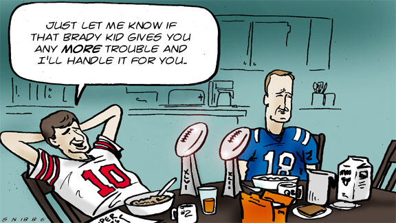 Eli Manning and Peyton Manning in Kurt Snibbe's caption contest