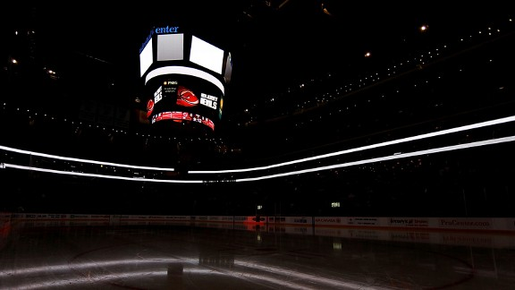 The Prudential Center in darkness