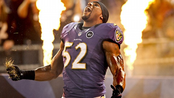 Ray Lewis performs his pregame entry dance.