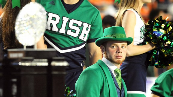 The Notre Dame Fighting Irish leprechaun mascot at the BCS National Championship Game