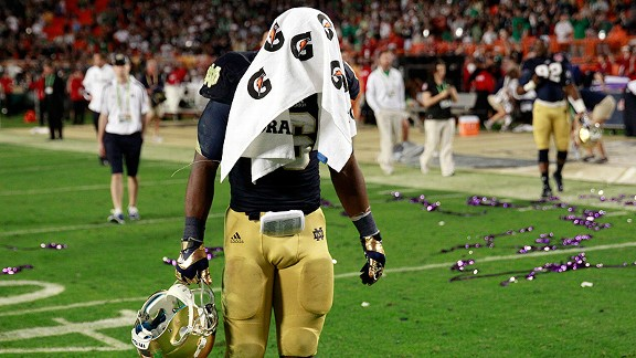Theo Riddick of the Notre Dame Fighting Irish at the BCS National Championship Game against the Alabama Crimson Tide