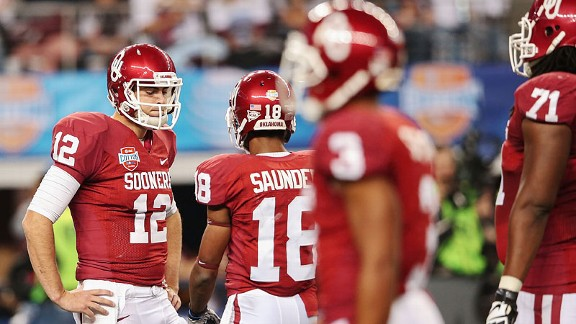 Landry Jones of the Oklahoma Sooners at the Cotton Bowl against the Texas A&M Aggies