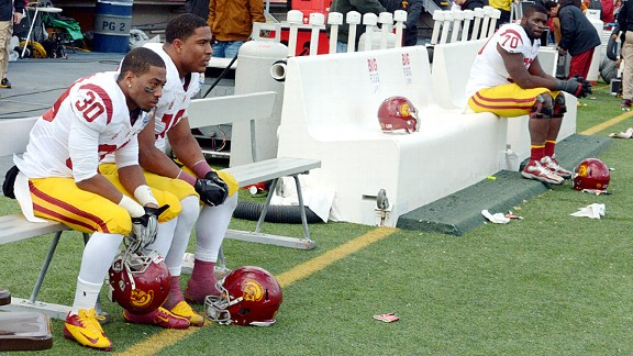 The USC Trojans bench during the Sun Bowl against the Georgia Tech Yellow Jackets