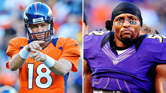 Peyton Manning (left) and Ray Lewis (right)