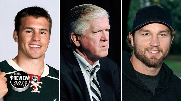 Zach Parise, Brian Burke, and Rick Nash