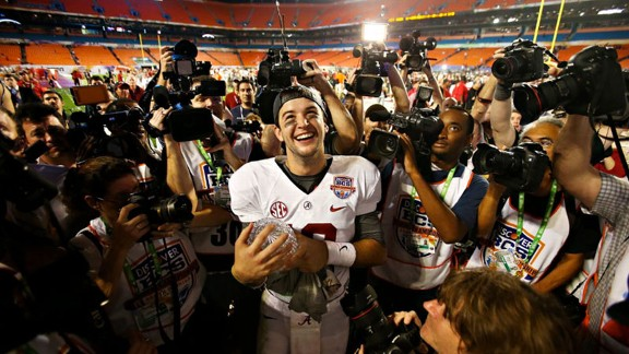 AJ McCarron of the Alabama Crimson Tide after beating the Notre Dame Fighting Irish in the BCS National Championship Game