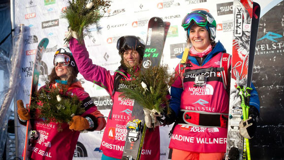 The women's ski podium, led by Christine Hargin of Sweden, at the Revelstoke Freeride World Tour.