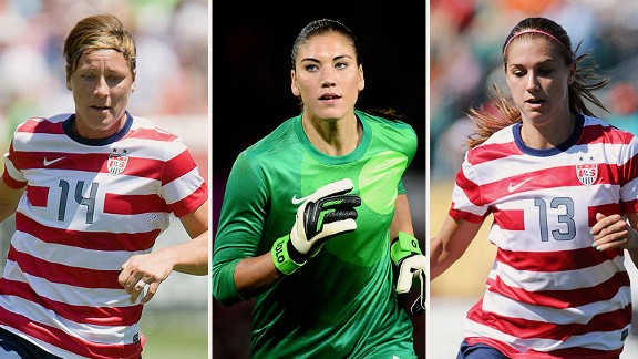 Abby Wambach, Hope Solo and Alex Morgan